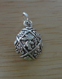 17x11mm Decorated Easter Bunny Rabbit Egg Sterling Silver Charm