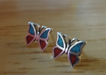 Tiny 7x8mm Blue & Red Butterfly Stud Sterling Silver Earrings