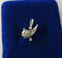 3D 15x14mm Solid Shooting Star Comet Sterling Silver Charm
