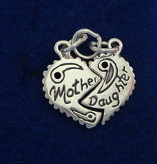 Mother and Daughter Heart Sterling Silver Charms 2 in 1