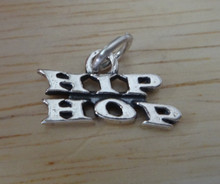 18x15mm Sterling Silver Dance Charm that says Hip Hop Charm!