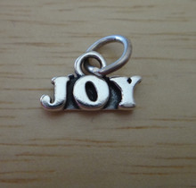 Tiny 8x13mm says Joy Holiday Christmas Sterling Silver Charm