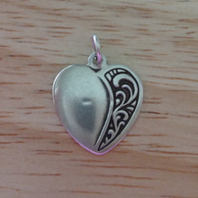 1/2 Decorated Pretty Heart Sterling Silver Charm