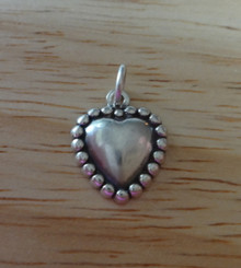 13x16mm 1/2 Heart with Round Balls Sterling Silver Charm