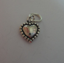 Tiny 3D Solid Puffy Heart with Round Dots surrounding it Sterling Silver Charm!