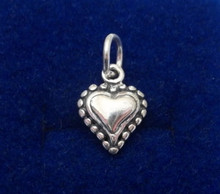 3D Small solid Heart with Round Balls Sterling Silver Charm