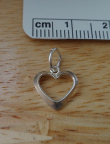 Tiny 7x11mm Open Heart Sterling Silver Charm!