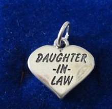 says Daughter-In-Law Heart Sterling Silver Charm!