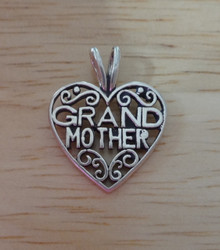 20x16mm Filigree Grandmother Heart Sterling Silver Charm with double bale