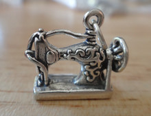Large Antique style Sewing Machine Sterling Silver Charm