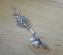 10x30mm Fancy Skeleton Key with Hearts Sterling Silver Charm