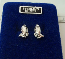 10x12mm Praying Hands Religious Sterling Silver Stud Earrings!