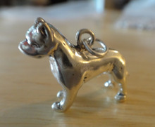 3D 26x21mm Heavy 9 gram Solid Pit Bull Dog Sterling Silver Charm