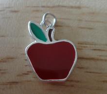 Red Enamel Teacher School Apple Sterling Silver Charm