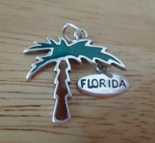 23x22mm Movable Enamel Palm Tree Florida Sterling Silver Charm