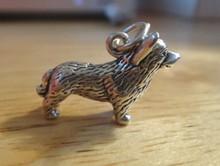 3D 22x15mm Hvy 5g Pembroke Welsh Corgi Dog Sterling Silver Charm