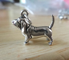 3D 15x20mm Basset Hound Dog Sterling Silver Charm