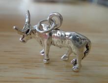 3D 22x17mm Bull Texas Longhorn Steer Sterling Silver Charm