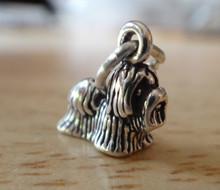 TINY 10x11mm 3D Shih Tzu or Maltese Dog Sterling Silver Charm