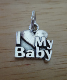 13x13mm New Mom I Love (heart) My Baby Sterling Silver Charm