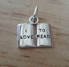 says I Love to Read on a Book Reader Sterling Silver Charm