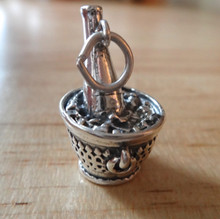 Large 4 gram Champagne Bottle in an Ice Bucket Sterling Silver Charm