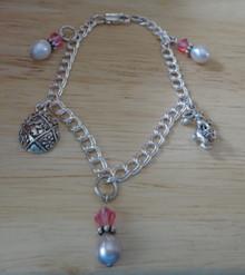 """6.75"""" Sterling Silver Easter Rabbit Egg Charm Bracelet"""