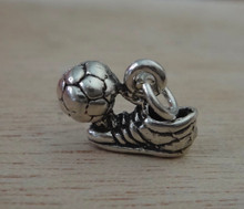 3D 14x11mm Soccer Cleat Shoe Soccer Ball Sterling Silver Charm