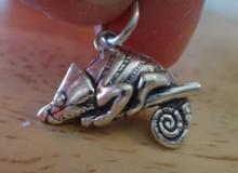 3D 18x15mm Lizard Chameleon Sterling Silver Charm