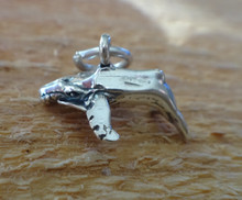 3D 17x10mm Fish Ocean Humpback Whale Sterling Silver Charm