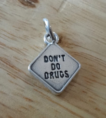 13x16mm Don't Do Drugs Sign (Just say No) Pharmacy Sterling Silver Charm