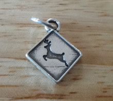 13x16mm Driver Road Deer Crossing Sign Sterling Silver Charm