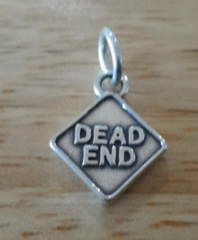 13x15mm Driver Road Sign says Dead End Sterling Silver Charm