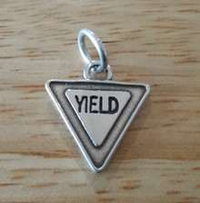 14x16mm Driver Yield Road Sign says Yield Sterling Silver Charm