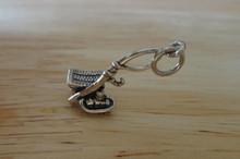Fishing Pole, Fishing Creel Basket & Chair Sterling Silver Charm
