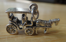 3D 25x15mm Horse Drawn Carriage Wagon Sterling Silver Charm