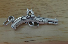 3D 27x12mm Old Time Dueling Pistol Gun Sterling Silver Charm
