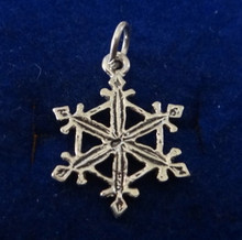 17mm Snowflake Holiday Christmas Sterling Silver Charm