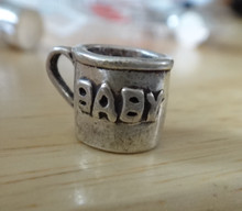 9x13mm says Baby on Cup 3 gram Sterling Silver Charm