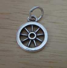 Small 11mm Old West Western Wagon Wheel Sterling Silver Charm
