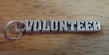 28x5mm says Volunteer Sterling Silver Charm