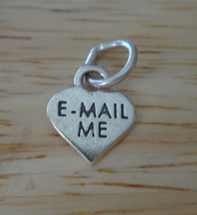 Tiny 11x9mm Conversation Heart that says Email Me Computer Sterling Silver Charm