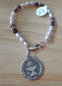 """6"""" Sterling Silver 1st Communion Purple Pearl Bracelet"""