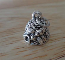 3D 10x11mm Beehive with Bee Sterling Silver Charm