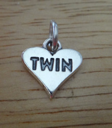 12x12mm Heart that says Twin Sterling Silver Charm