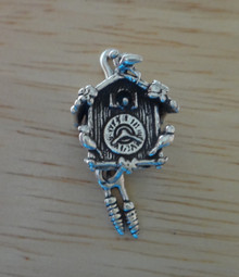 Movable Cuckoo Clock Sterling Silver Charm