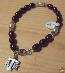 """7"""" to 8.5"""" Texas A&M Aggie ATM Fresh Water Pearl Sterling Silver Charm Bracelet"""