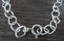 "8"" or 9"" Diamond Shaped Link Sterling Silver Charm Bracelet"
