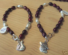 """7"""" to 8.5"""" Texas A&M University Aggie Thumb or Sarge Pearl Sterling Silver Charm Bracelet"""