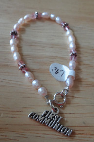 "6.5"" Sterling Silver 1st Communion Pink Pearl Bracelet"